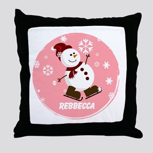 Cute Personalized Snowman Xmas gift Throw Pillow