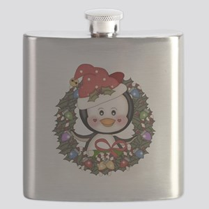 Christmas Penguin Holiday Wreath Flask