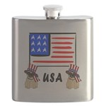 Patriotic USA Pug Dogs Flask