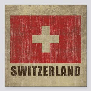 "Vintage Switzerland Square Car Magnet 3"" x 3"""