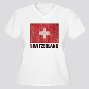 Vintage Switzerland Women's Plus Size V-Neck T-Shi