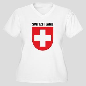 Switzerland Women's Plus Size V-Neck T-Shirt