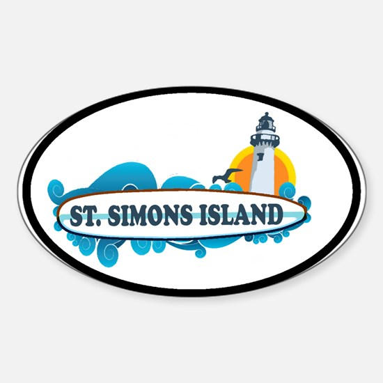 St. Simons Island - Oval Design. Sticker (Oval)