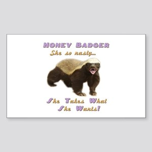 honey badger takes what she wants Sticker (Rectang