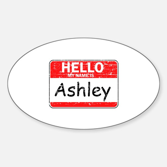 Hello My name is Ashley Sticker (Oval)