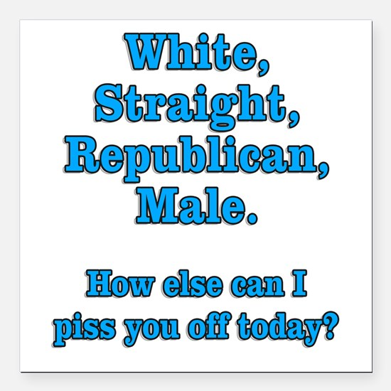 White Straight Republican Male Square Car Magnet 3