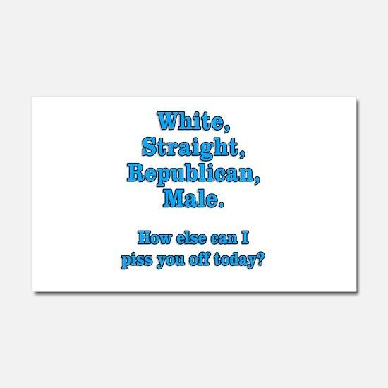 White Straight Republican Male Car Magnet 20 x 12