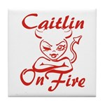 Caitlin On Fire Tile Coaster