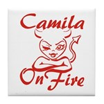 Camila On Fire Tile Coaster
