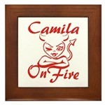 Camila On Fire Framed Tile