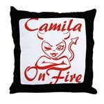 Camila On Fire Throw Pillow