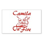 Camila On Fire Sticker (Rectangle)