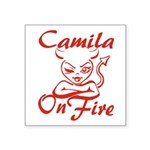 Camila On Fire Square Sticker 3
