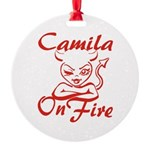 Camila On Fire Round Ornament