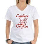 Candice On Fire Women's V-Neck T-Shirt