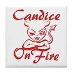 Candice On Fire Tile Coaster