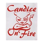 Candice On Fire Throw Blanket