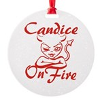 Candice On Fire Round Ornament