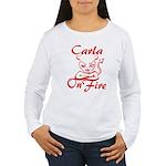 Carla On Fire Women's Long Sleeve T-Shirt