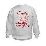 Carla On Fire Kids Sweatshirt