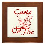 Carla On Fire Framed Tile