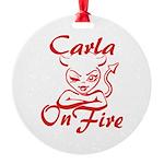 Carla On Fire Round Ornament
