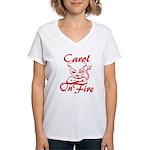 Carol On Fire Women's V-Neck T-Shirt