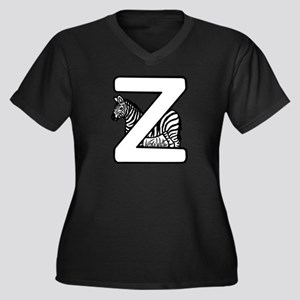 zebra Women's Plus Size V-Neck Dark T-Shirt
