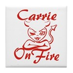 Carrie On Fire Tile Coaster