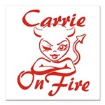 Carrie On Fire Square Car Magnet 3