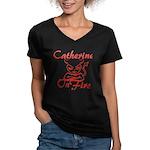 Catherine On Fire Women's V-Neck Dark T-Shirt