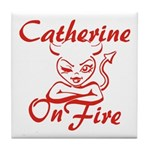 Catherine On Fire Tile Coaster