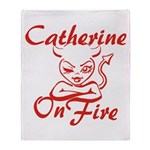 Catherine On Fire Throw Blanket