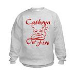 Cathryn On Fire Kids Sweatshirt