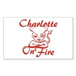 Charlotte On Fire Sticker (Rectangle)