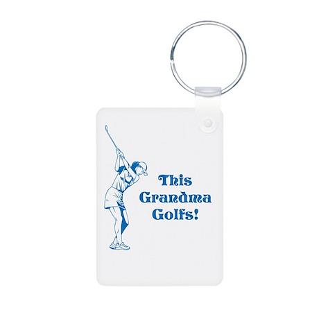 this grandma golfs Aluminum Photo Keychain
