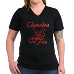 Chaundra On Fire Women's V-Neck Dark T-Shirt