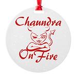 Chaundra On Fire Round Ornament