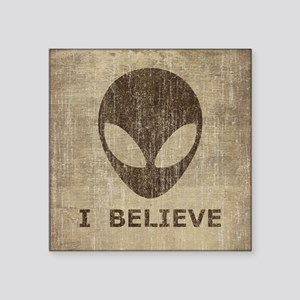 "Vintage Alien (I Believe) Square Sticker 3"" x 3"""