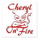 Cheryl On Fire Square Car Magnet 3