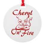 Cheryl On Fire Round Ornament