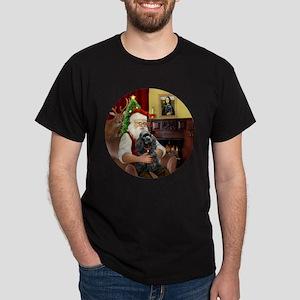 Santa & His Black Cocker Spaniel Dark T-Shirt