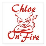 Chloe On Fire Square Car Magnet 3