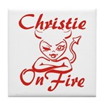 Christie On Fire Tile Coaster