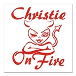 Christie On Fire Square Car Magnet 3