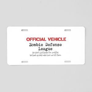 zombie defense league Aluminum License Plate
