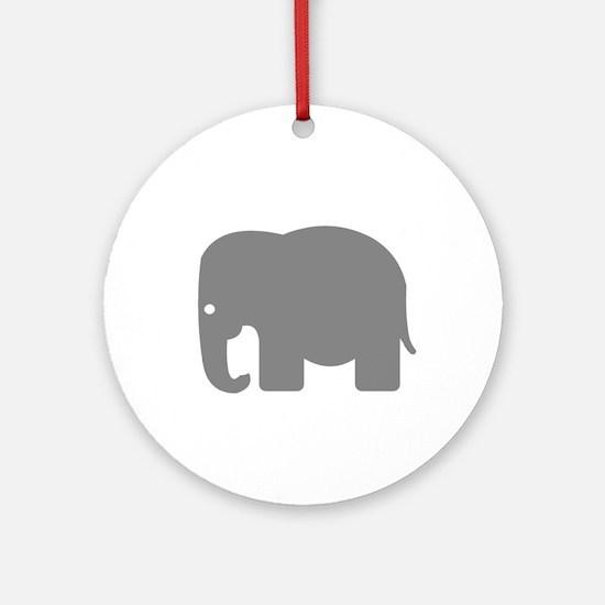 Grey Elephant Silhouette Ornament (Round)
