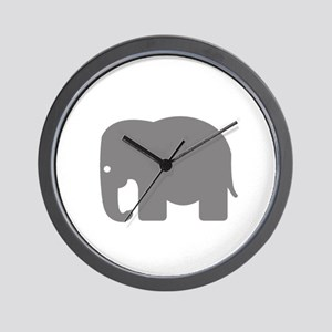Grey Elephant Silhouette Wall Clock