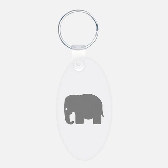 Grey Elephant Silhouette Keychains