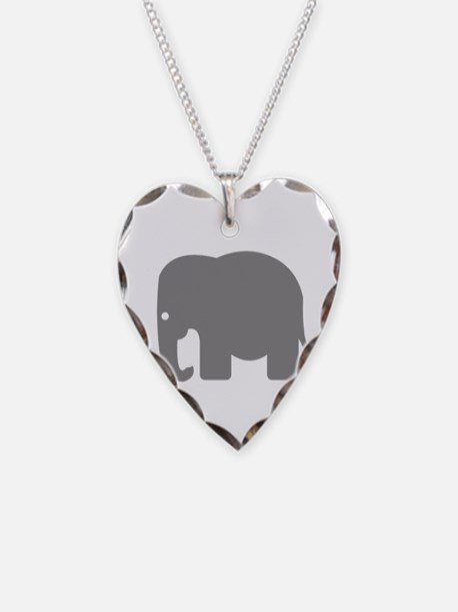 Grey Elephant Silhouette Necklace